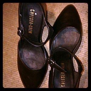 Chelsea Crew Black leather Mary Jane Block Heels